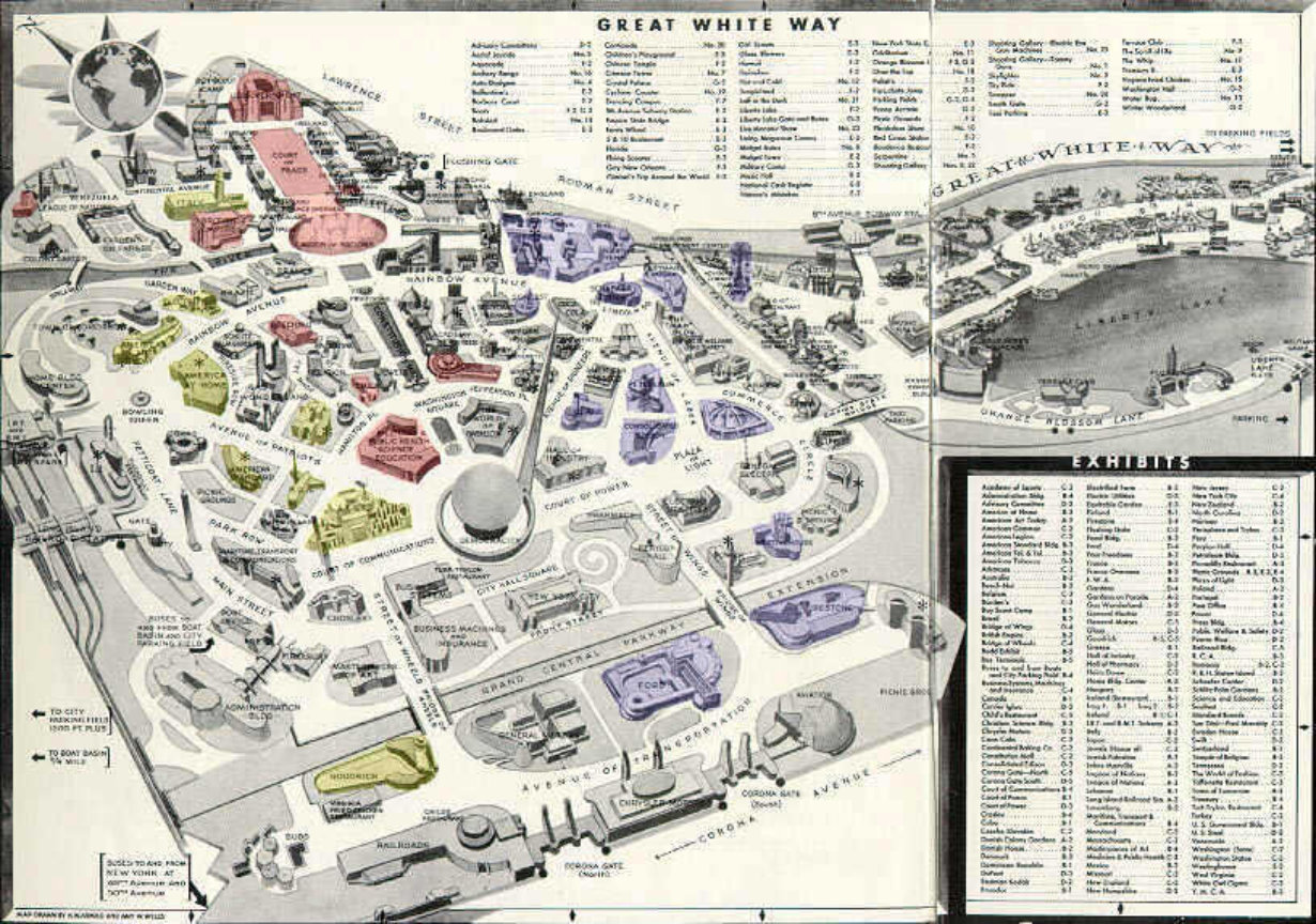 Souvenir Map Columbian Exposition Worlds Fairs Plus Chicago - Chicago map new york